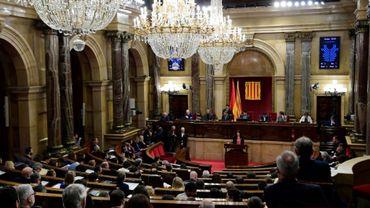 Le Parlement catalan réuni en session, le 28 mars 2018 à Barcelone