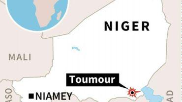 Localisation de la ville de Toumour au Niger, théâtre d'une attaque contre la société de forage française Foraco