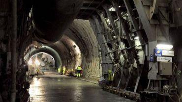 Travaux le 15 septembre 2008 sur le chantier de la descenderie de Saint-Martin-la-Porte, sur le tracé de la future ligne du TGV Lyon-Turin