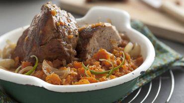 Recette : Mignon de porc rôti et compotée de carottes au citron vert