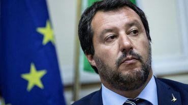 Le ministre de l'Intérieur Matteo Salvini lors d'une conférence de presse avec le Premier ministre hongrois Viktor Orban le 28 août 2018.