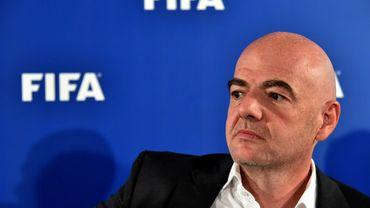 Le président de la FIFA, Gianni Infantino, lors d'une conférence de presse le 2 septembre 2016 à Bari en Italie