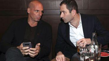 MM. Hamon et Varoufakis, fondateur du mouvement européen Diem 25.