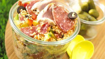 Taboulé de saucisson sec cornichons olives thon.