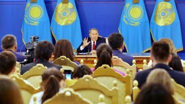 Le président du  Kazakhstan, Noursoultan Nazarbaïev, lors d'une conférence de presse le 14 septembre 2017 à Astana