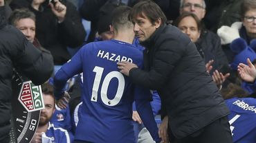 Eden Hazard et Antonio Conte