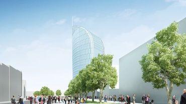 La future Tour sera située devant la gare Calatrava.
