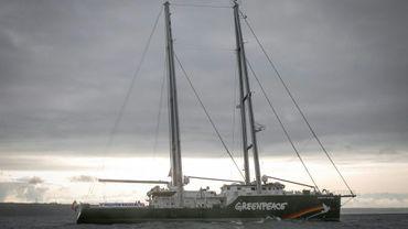 Le voilier de Greenpeace Rainbow Warrior le 16 août 2019 au large de La Haye aux Pays-Bas