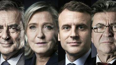 Montage créé le 14 avril 2017 des quatre principaux candidats à l'électin présidentielle: François Fillon, Marine Le Pen, Emmanuel Macron et Jean-Luc Melenchon