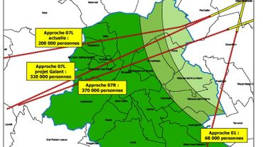 Carte des approches pour les pistes 07 et 01