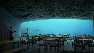 La salle du restaurant sous-marin (Snøhetta)