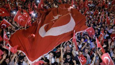 Manifestation de soutien au président Recep Tayyip Ergogan, le 16 juillet 2016, après une tentative de coup d'Etat militaire en Turquie