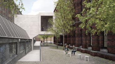 Le Link Bridge de la Royal Academy of Arts qui reliera les deux parties du musée en 2018, ici vue depuis la School Courtyard