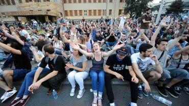 Manifestation anti-gouvernementale, le 6 mai à Skopje.