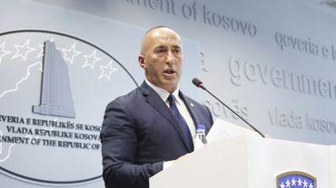 Le Premier ministre du Kosovo Ramush Haradinaj lors d'une conférence de presse à Pristina le 19 juillet 2109