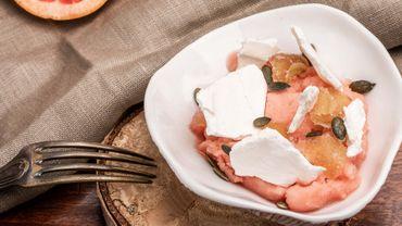 Sorbet au pamplemousse minute, meringue, gingembre