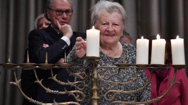 La survivante de l'Holocauste Assia Gorban célèbre Hanoucca à Berlin le 4 décembre dernier.