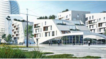 """La perspective de """"Paradis Express"""", depuis la gare des Guillemins"""