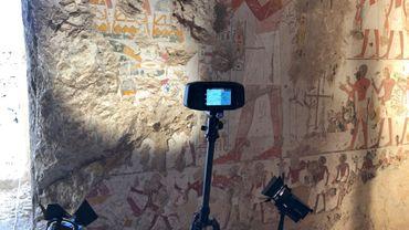 Imagerie hyper-spectrale d'une peinture murale à Louxor par l'équipe de l'UR Art, Archéologie, Patrimoine (ULiège)