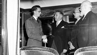 Le Roi Baudouin, Paul-Willem Segers et Fernand Brunfaut en 1952 (inauguration jonction Nord-Midi)
