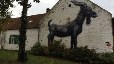 Un immense graffiti sur la façade de la ferme