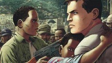 La couverture de Kivu avec à l'avant-plan le jeune héros d'une aventure scénarisée par Jean Van Hamme