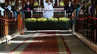 Le pape François lors d'une rencontre avec des jeunes dans l'église luthérienne de Kaarli à Tallinn, le 25 septembre 2018