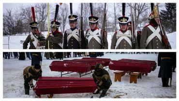 Obsèques de 126 soldats dans 8 cercueils, ce 13 février à Viazma (Russie)