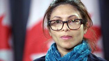 Ensaf Haidar, la femme du blogueur, Raef Badawi, lors d'une conférence de presse à Ottawa (Ontario), le 29 janvier 2015