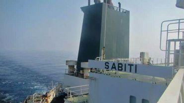 Photo distribuée par la télévision d'Etat iranienne le 10 octobre 2019 montrant le pétrolier iranien Sabiti dans les eaux de la mer Rouge