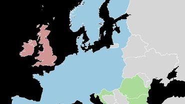 En bleu les pays participant à l'espace Schengen, les futurs membres en vert