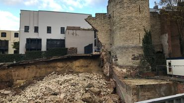 Effondrement d'un pan de l'ancien mur d'enceinte de Bruxelles