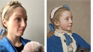 Maya a relevé le défi du Getty Museum en reproduisant cette toile de Jean-Etienne Liotard.
