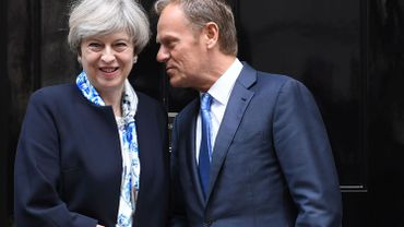"""Theresa May et Donald Tusk, le 06 avril 2017 au """"10 Downing Street"""""""