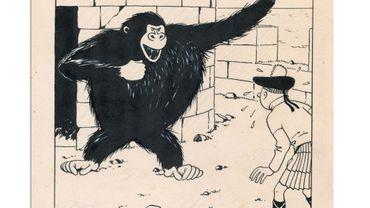 """Le dessin qui représente le jeune reporter en costume traditionnel écossais face au gorille de """"L'île noire"""" est estimé entre 270 000 et 300 000 euros."""