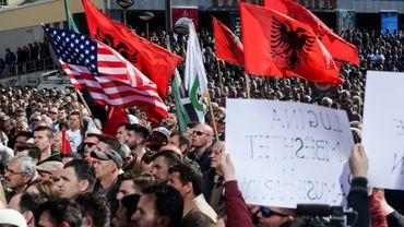 Manifestation de soutien à l'ancien rebelle kosovar Ramush Haradinaj, le 4 mars 2017 à Pristina