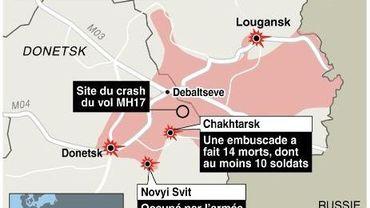 Carte de l'est de l'Ukraine avec les derniers affrontements, le 1er août 2014
