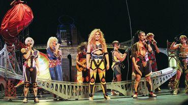 Les chanteurs Jasmine Roy, Luce Dufault et Bruno Pelletier, dans une reprise de Starmania en 1993.