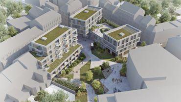 Voici une vue en 3D de ce qui est prévu sur le parking situé à l'intersection des rues Rogier et Lucie Namêche. 25 millions d'euros d'investissement sont prévus pour ce projet dit de Rogier II qui consiste à développer un pôle emploi-formation avec du logement en plus.