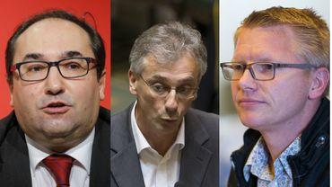 Les députés Ahmed Laaouej (PS), Benoît Dispa (cdH) et Georges Gilkinet (Ecolo).
