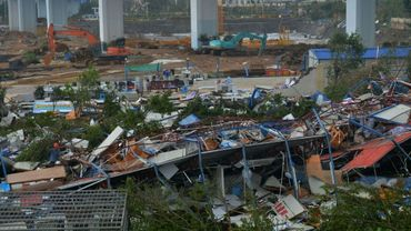 Des bâtiments détruits par le typhon Meranti, le 15 septembre 2016 à Xiamen, en Chine