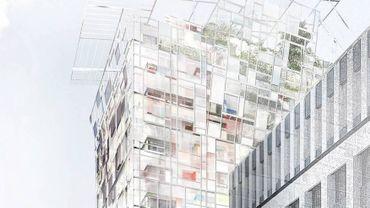 Une tour d'habitation due à l'architecte Jean Nouvel, dont la coiffe de verre et de métal culmine à 64 m de hauteur, a été inaugurée dans le nouveau quartier lyonnais de la Confluence.