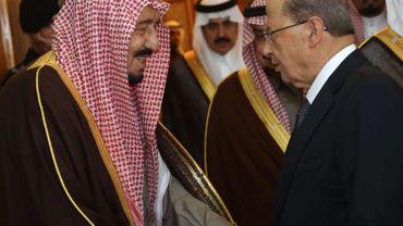 Le président libanais Michel Aoun et le roi Salmane lors de leur rencontre.