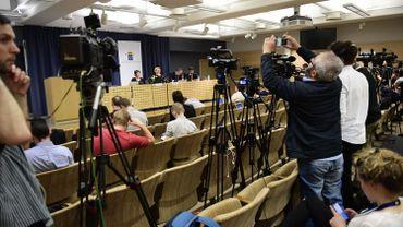 La salle où le parquet suédois a annoncé qu'il abandonnait les poursuites