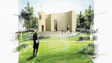 Plan de la nouvelle église sainte Gertrude, place Van Meyel