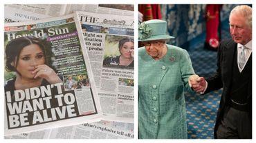 Gros titres de la presse australienne ce 9 mars et illustration de la reine Elizabeth II et du Prince Charles