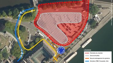 La zone des fouilles (en rouge) sera élargie et les feux de signalisation du carrefour du Parlement remplacés par un giratoire