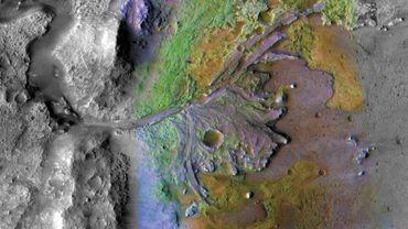 Image fournie par la Nasa du cratère de Jezero, sur Mars, où atterrira en 2021 le rover Mars 2020