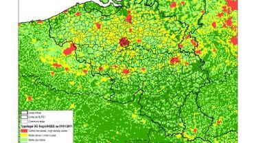 """La nouvelle carte wallonne des """"noyaux urbains de haute densité"""" (en rouge)"""