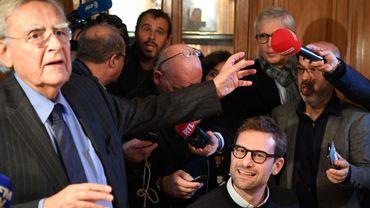 Bernard Pivot, président du jury du Goncourt, et le lauréat 2018, Nicolas Mathieu